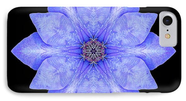 IPhone Case featuring the photograph Blue Clematis Flower Mandala by David J Bookbinder