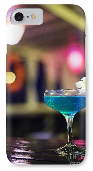 Blue Cocktail Drink In Dark Bar Interior IPhone Case