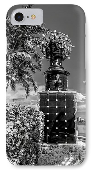 Blue Crown Statue Miami Downtown - Black And White Phone Case by Ian Monk