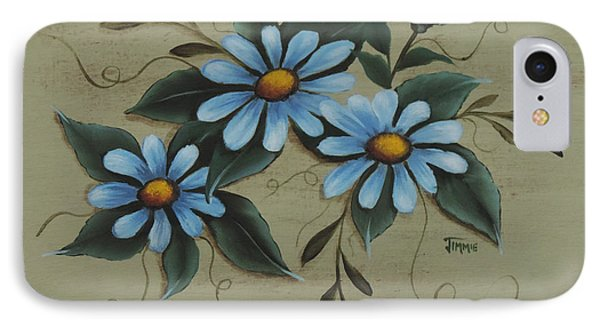 IPhone Case featuring the painting Blue Daisies by Jimmie Bartlett
