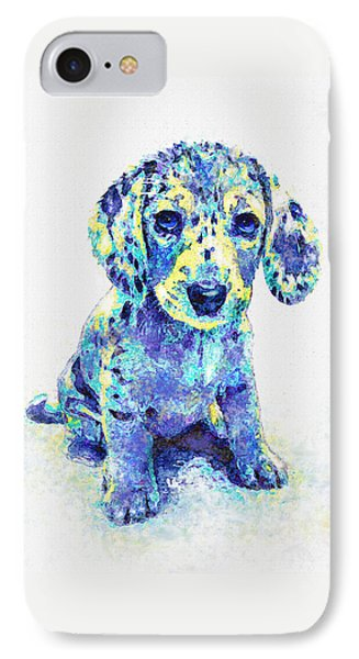 Blue Dapple Dachshund Puppy IPhone Case by Jane Schnetlage