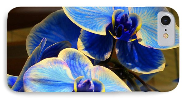 Blue Diamond Orchids Phone Case by Patricia Januszkiewicz