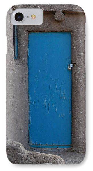 IPhone Case featuring the photograph Blue Door Gray Walls by Nadalyn Larsen