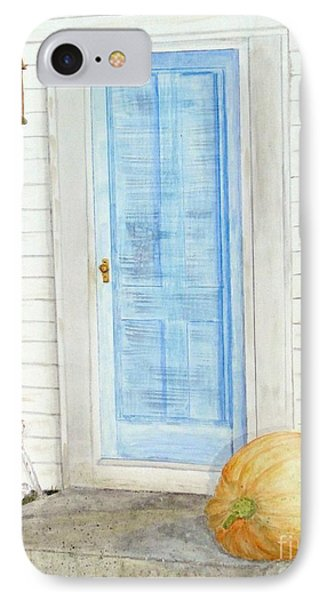 Blue Door With Pumpkin IPhone Case by Barbie Corbett-Newmin