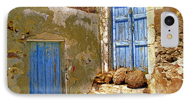 Blue Doors Of Santorini IPhone Case by Madeline Ellis