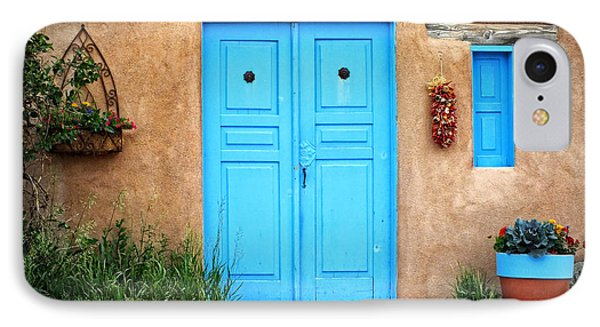 Blue Doors Of Taos Phone Case by Lucinda Walter
