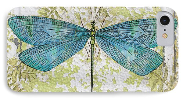 Blue Dragonfly On Vintage Tin IPhone Case by Jean Plout