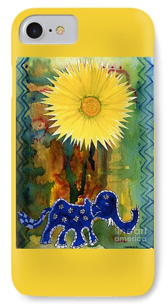Blue Elephant In The Rainforest IPhone Case by Mukta Gupta