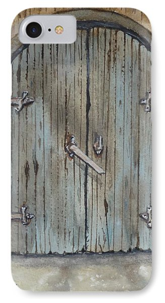 IPhone Case featuring the painting Blue Entrance Door Has Stories by Kelly Mills