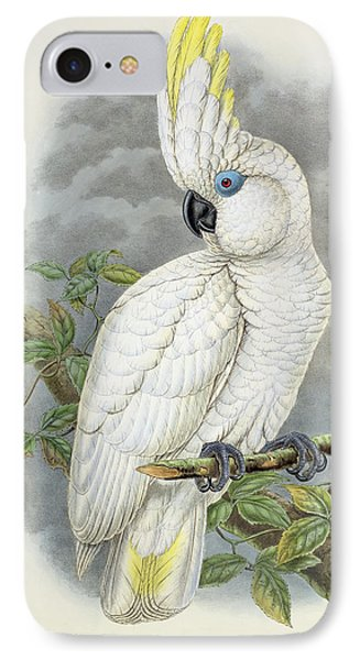 Blue-eyed Cockatoo IPhone Case by William Hart