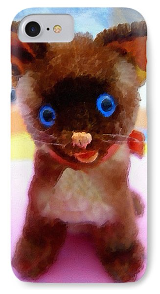 Blue Eyed Kitty IPhone Case by Joan Reese
