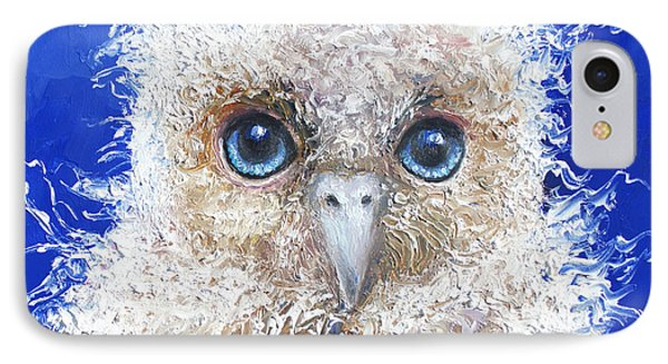 Blue Eyed Owl Painting IPhone Case by Jan Matson