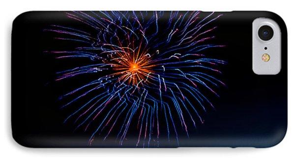 Blue Firework Flower IPhone Case by Robert Bales