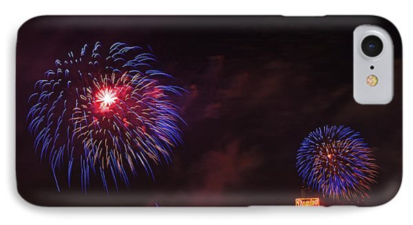 Blue Fireworks Over Domino Sugar IPhone Case by Bill Swartwout