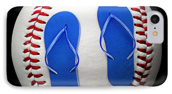 Blue Flip Flops Baseball Square Phone Case by Andee Design