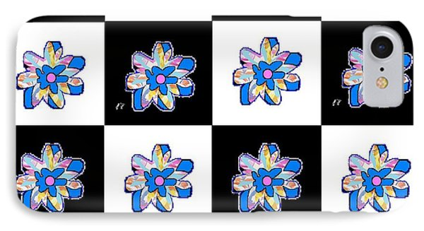 IPhone Case featuring the mixed media Blue Flower Dance by Ann Calvo