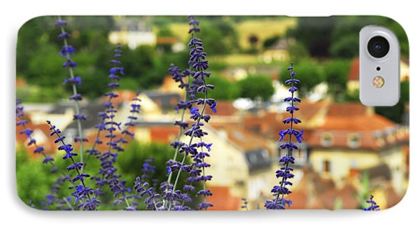 Blue Flowers And Rooftops In Sarlat IPhone Case by Elena Elisseeva