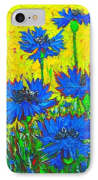 Blue Flowers - Wild Cornflowers In Sunlight  Phone Case by Ana Maria Edulescu