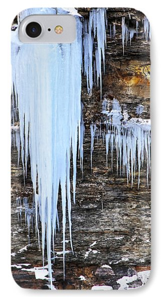 Blue Frozen Icicle Stalactites IPhone Case by Darleen Stry