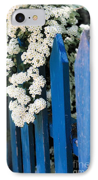 Blue Garden Fence With White Flowers Phone Case by Elena Elisseeva