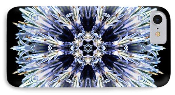 Blue Globe Thistle Flower Mandala Phone Case by David J Bookbinder