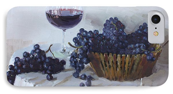 Blue Grapes And Wine Phone Case by Ylli Haruni