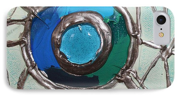 Blue Green And Gold Circle Phone Case by Cynthia Snyder