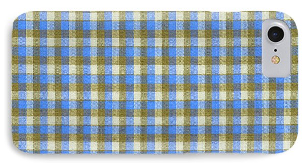 Blue Green And White Plaid Pattern Cloth Background IPhone Case