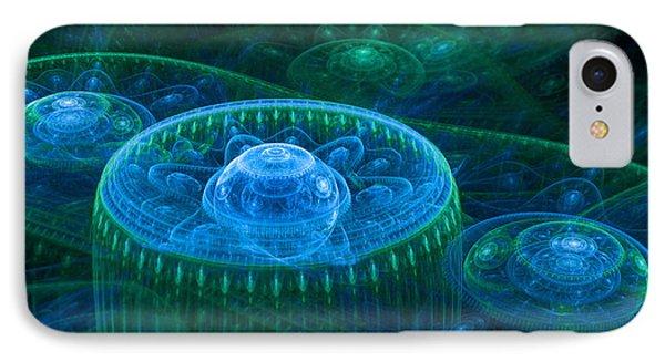 Blue Green Fantasy Landscape IPhone Case by Martin Capek