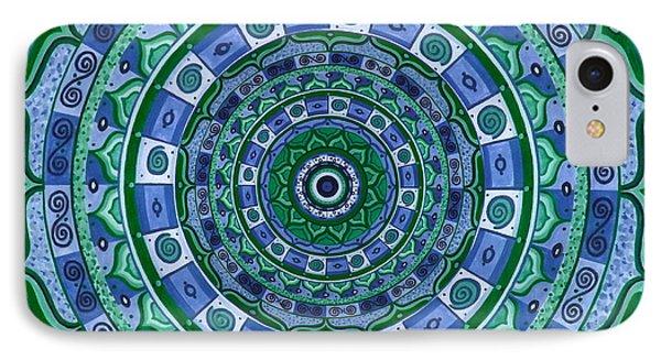 Blue Green Mandala Phone Case by Vlatka Kelc