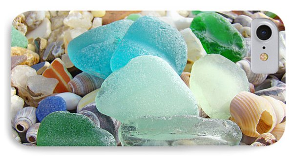 Blue Green Sea Glass Beach Coastal Seaglass IPhone Case by Baslee Troutman