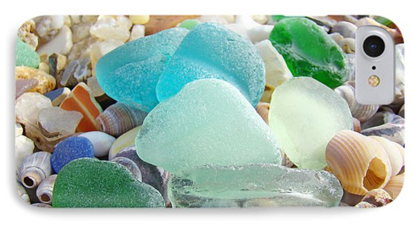 Blue Green Sea Glass Coastal Art IPhone Case by Baslee Troutman