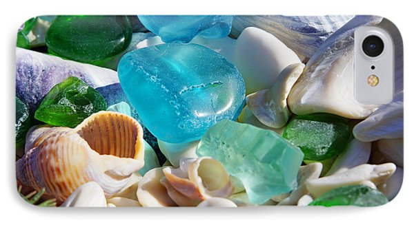 Blue Green Seaglass Shells Coastal Beach IPhone Case by Baslee Troutman