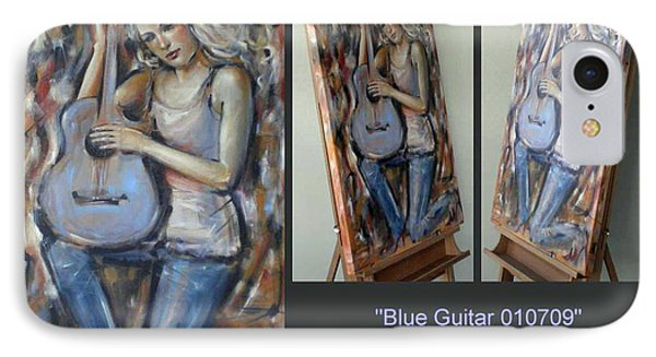 IPhone Case featuring the painting Blue Guitar 010709 Comp by Selena Boron