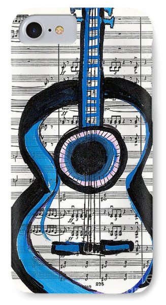 Blue Guitar Music IPhone Case by Ecinja Art Works