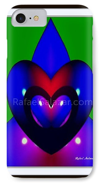 IPhone Case featuring the painting Blue Hearts by Rafael Salazar