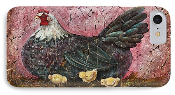 Blue Hen With Chicks Fresco IPhone Case