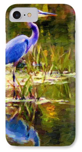 IPhone Case featuring the digital art Blue Heron by Chuck Mountain