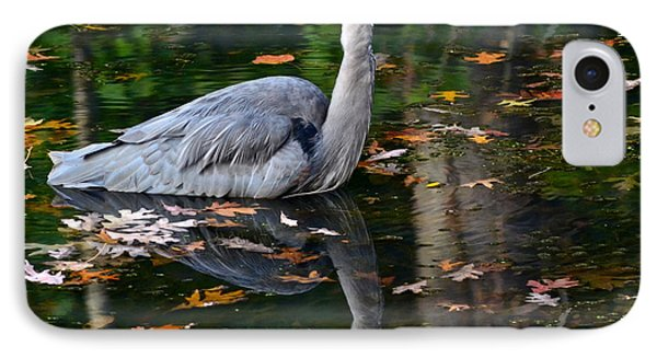 Blue Heron In Autumn Waters Phone Case by Frozen in Time Fine Art Photography