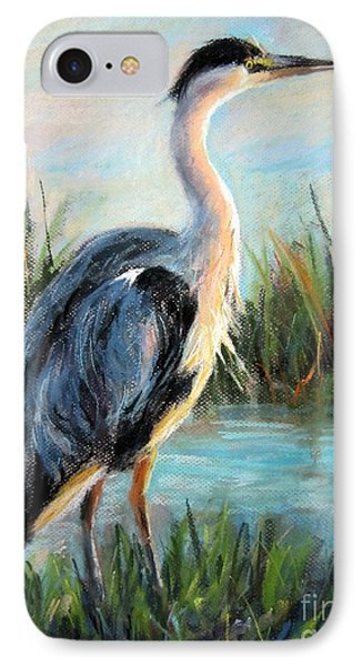 IPhone Case featuring the painting Blue Heron by Jieming Wang