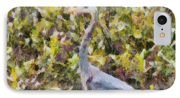 Blue Heron Painting IPhone Case by Dan Sproul