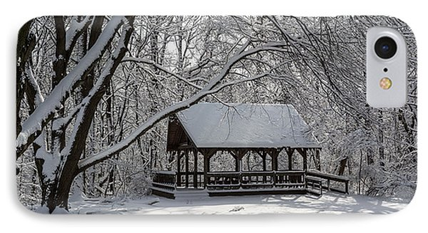 Blue Heron Park After Snowfall IPhone Case by Kenneth Cole
