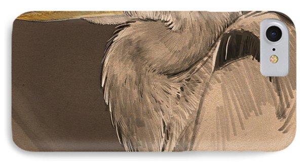 Blue Heron Sketch IPhone Case