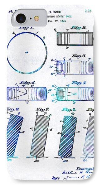 Blue Hockey Art - Hockey Puck Patent - Sharon Cummings IPhone Case by Sharon Cummings