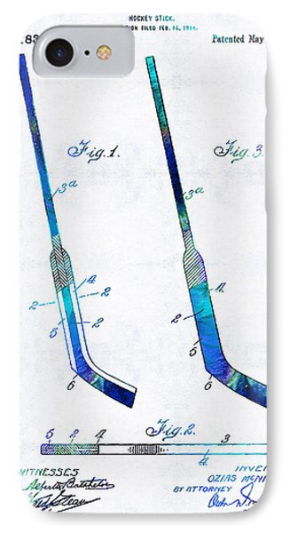 Blue Hockey Stick Art Patent - Sharon Cummings IPhone Case