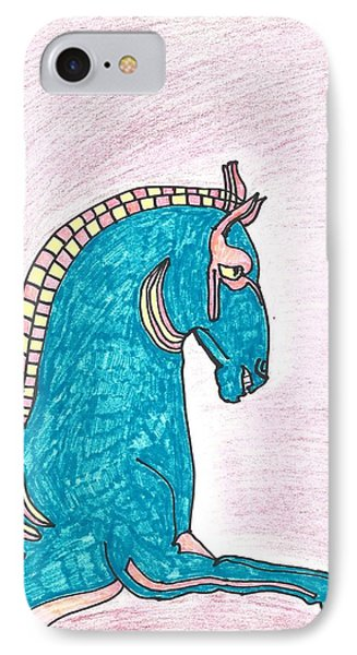 IPhone Case featuring the drawing Blue Horse Of Shanghai by Don Koester