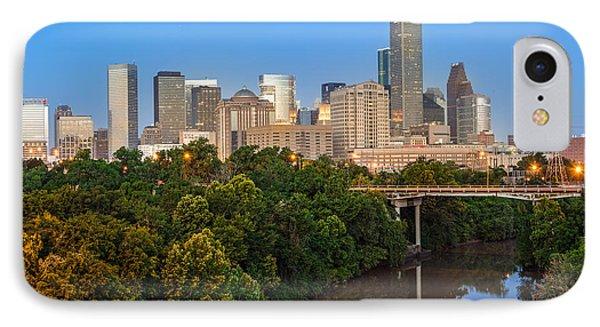 Blue Hour Panorama Of Downtown Houston Texas IPhone Case by Silvio Ligutti
