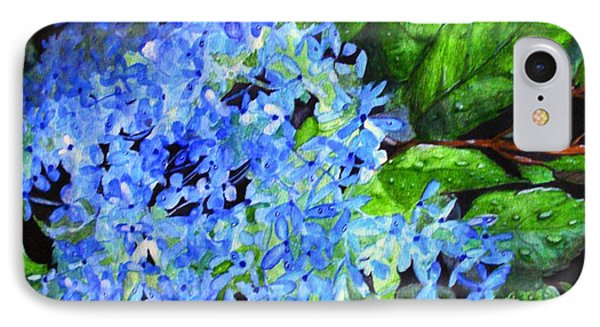 IPhone Case featuring the painting Blue Hydrangea After The Rain by June Holwell