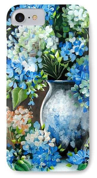 IPhone Case featuring the painting Blue Hydrangeas by Patrice Torrillo