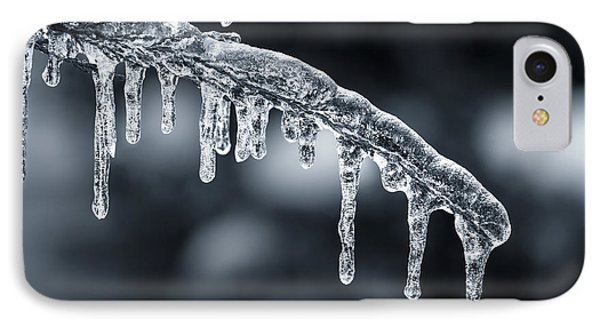 Blue Icicles On Winter Branch IPhone Case by Elena Elisseeva